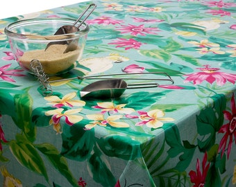 PVC Teal Petals Leaves Floral Oilcloth Vinyl Tablecloth Wipe Easy 140CM Wide