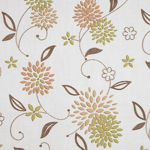 Taupe Large Leaf Floral PVC Vinyl Oilcloth Wipeclean Tablecloth Multiple Sizes