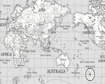 World map fabric etsy grey atlas world map oilcloth wipeclean fabric tablecloth gumiabroncs Gallery