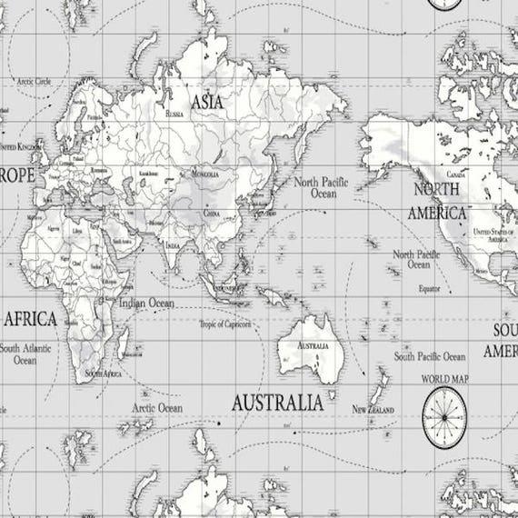 Grey Maps Linen Oil Table Cloth Pvc Coated Cotton Wipe Clean Scription Black