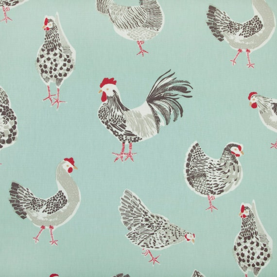 LOVE CHICKENS GREY VINYL WIPE CLEAN PVC TABLECLOTH  MANY SIZES