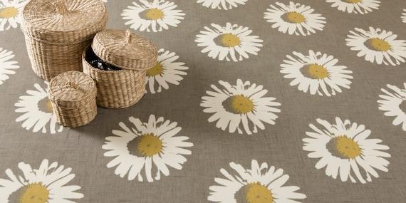 PLAIN GREY WHITE DAISY FLORAL PRINT PVC VINYL WIPE CLEAN TABLE CLOTH PROTECTOR