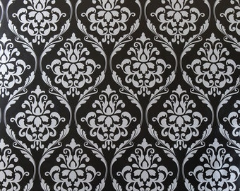 Large Black and Silver Damask PVC Vinyl Wipeclean Tablecloth