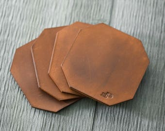 Leather Coasters   Bar   Drinks   Free Personalization   Customize   Gifts   Leather Accessory   Homegoods   Dining   Kitchen   Food
