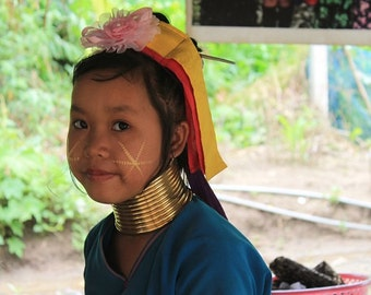 Thai Girl  with gold rings on neck-Рortrait -Photography -  Сolor photo - Horizontal - Digital Download - Instant Download-Wall Art Print