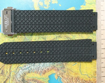 fits HUBLOT rubber band 24x18mm H BIG BANG strap 45mm, with buckle , gift for men, father's day, birthday gift