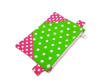 Small Zipper Bag, Small Zipper Pouch, Small Zipper Purse, Change Bag, Polka Dot Bag, Zip Purse, Teenager Girl Gifts, Gift Under 15, Mini Bag