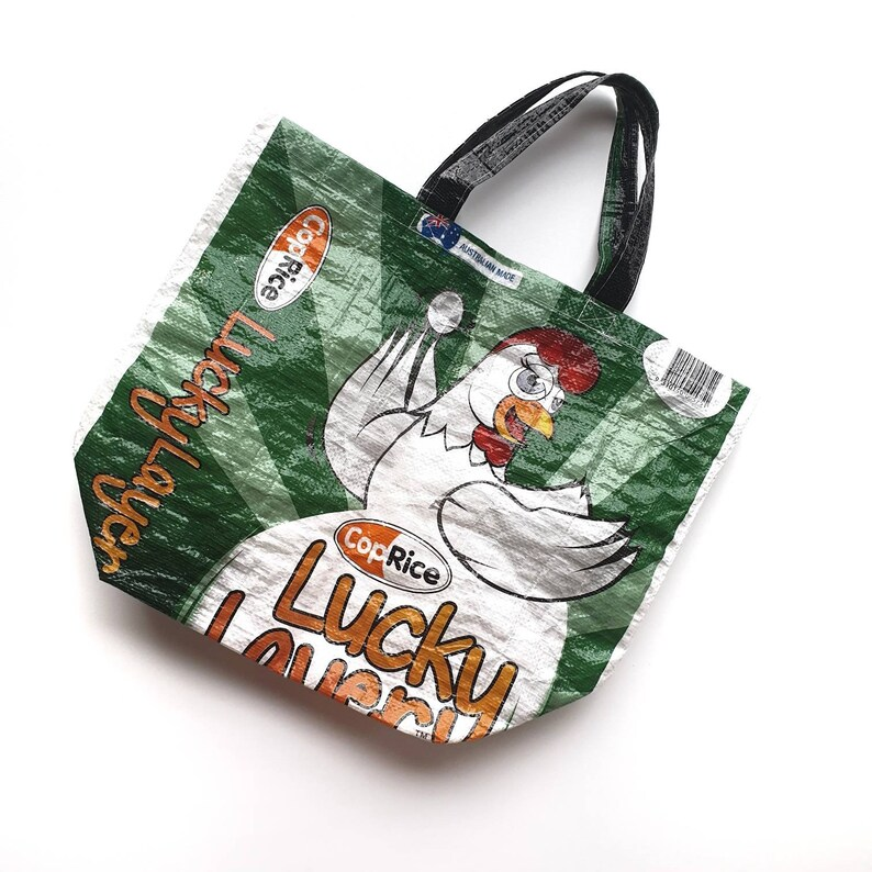 Reusable Tote Grocery Bag Upcycled Tote Market Bag Assorted Stockfeed, Shopping Bag