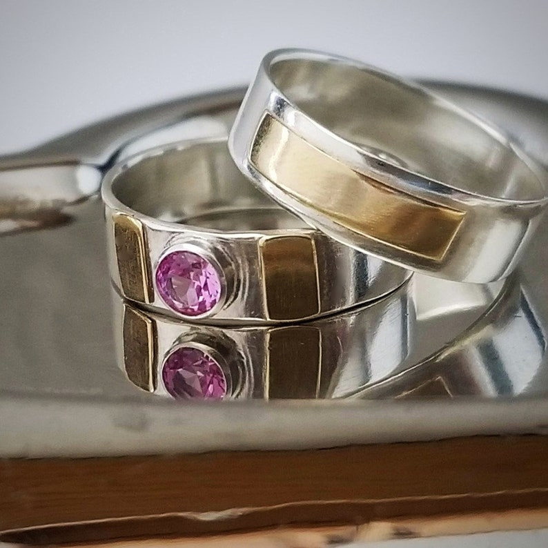 Sterling 14k Gold Wide Band Rings Through Thick and Thin Gold Accents Inspirational Pink Tourmaline Breast Cancer Awareness Jewelry