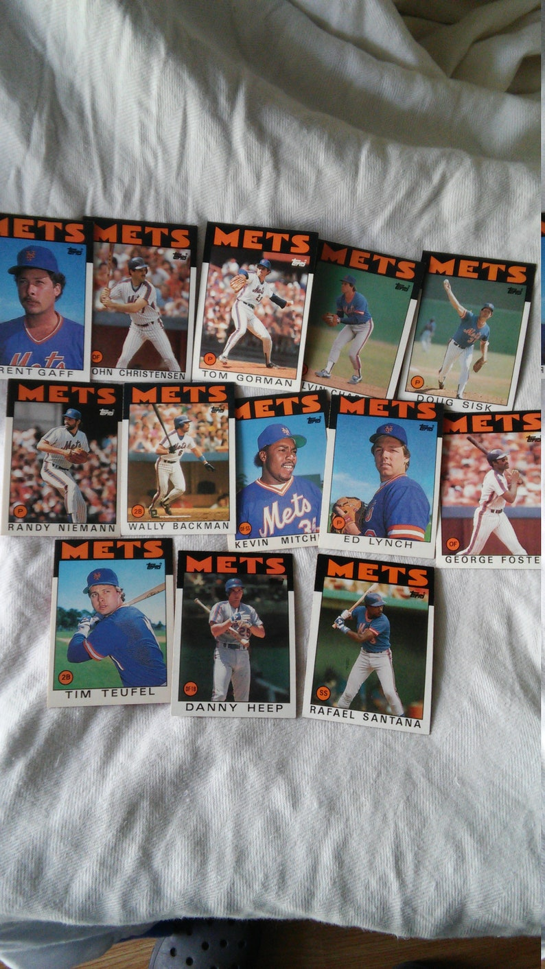 Baseball Cards Vintage Baseball Card 1986 Topps Ny Mets World Series Year Mets Baseball Lot Of 13 Reduced Sale