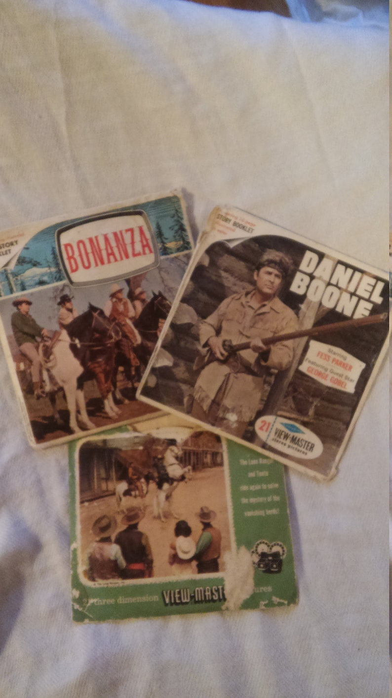 Vintage 50/'s 60/'s View Master Discs Lot of 3 pkg Bonanza View Master Reels Reduced -sale Lone Ranger Daniel Boone View Master