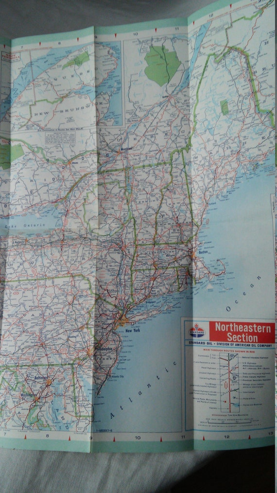 Road Map - Standard Oil Company- American Oil Company Map - Vintage road  map -Central & Eastern United States -Lot of 2- reduced