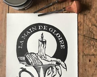Hand of Glory Linocut Print