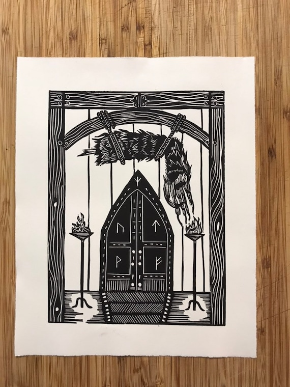 Grendel/'s Arm Hangs in Heorot 8x10 Linocut. Beowulf