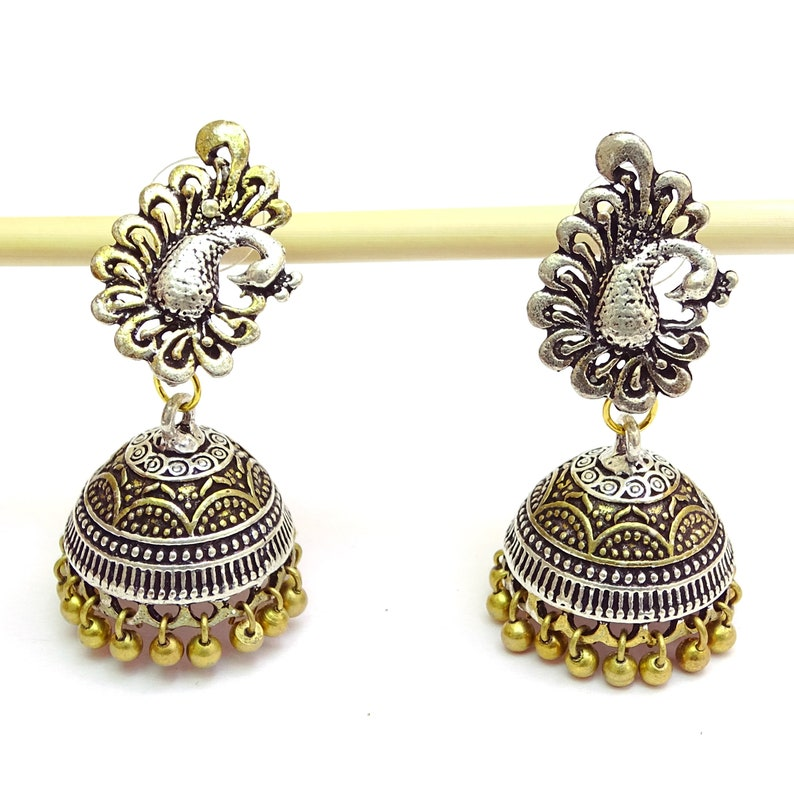 4eda898fc Traditional Ethnic Antique Peacock Design Earrings .925 Silver   Etsy