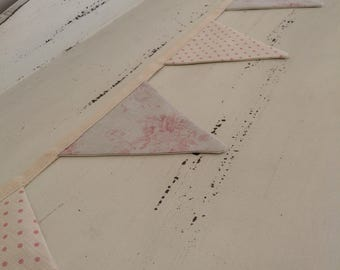 Handmade bunting in Peony & Sage Millie and blush dots fabric