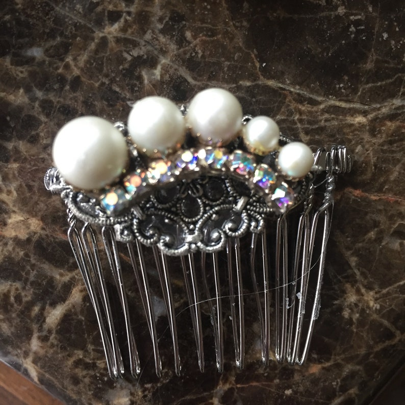 Wedding Accessories Rhinestones Vintage Rhinestone Bridal Hair Combs Handcrafted Bridal Accessories Vintage Pearls Hair Accessory