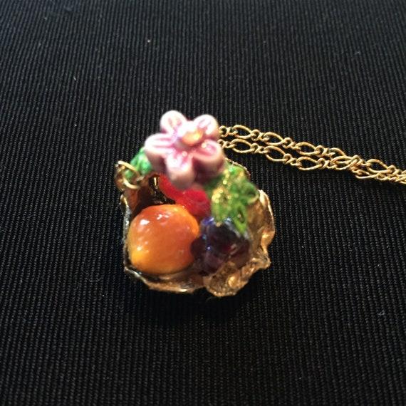 Vintage Fruit Basket Pendant Leaves Basket Flower Fruit Salad Pendant German Glass Fruit Brass Basket Fruit Salad Jewelry