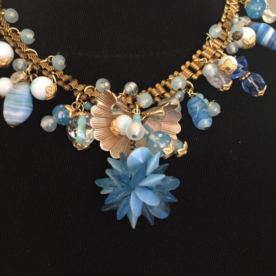 Stunning Blue Flower Czech Necklace Blue Crystal Necklace Czech Glass Necklace Flower Necklace Lucite Flower Necklace