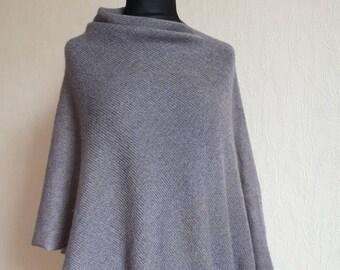 Knit poncho, Mohair poncho cape, Silk poncho, Evening shawls wraps, Grey poncho, Grey clothing, Summer poncho,  Beach poncho, Oversized