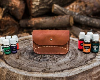 Essential Oil Leather Pouch - | Leather Pouch | Vegetable Tanned Leather | Handcrafted |  USA Made