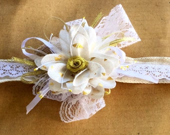 Burlap Wedding wrist corsage gold