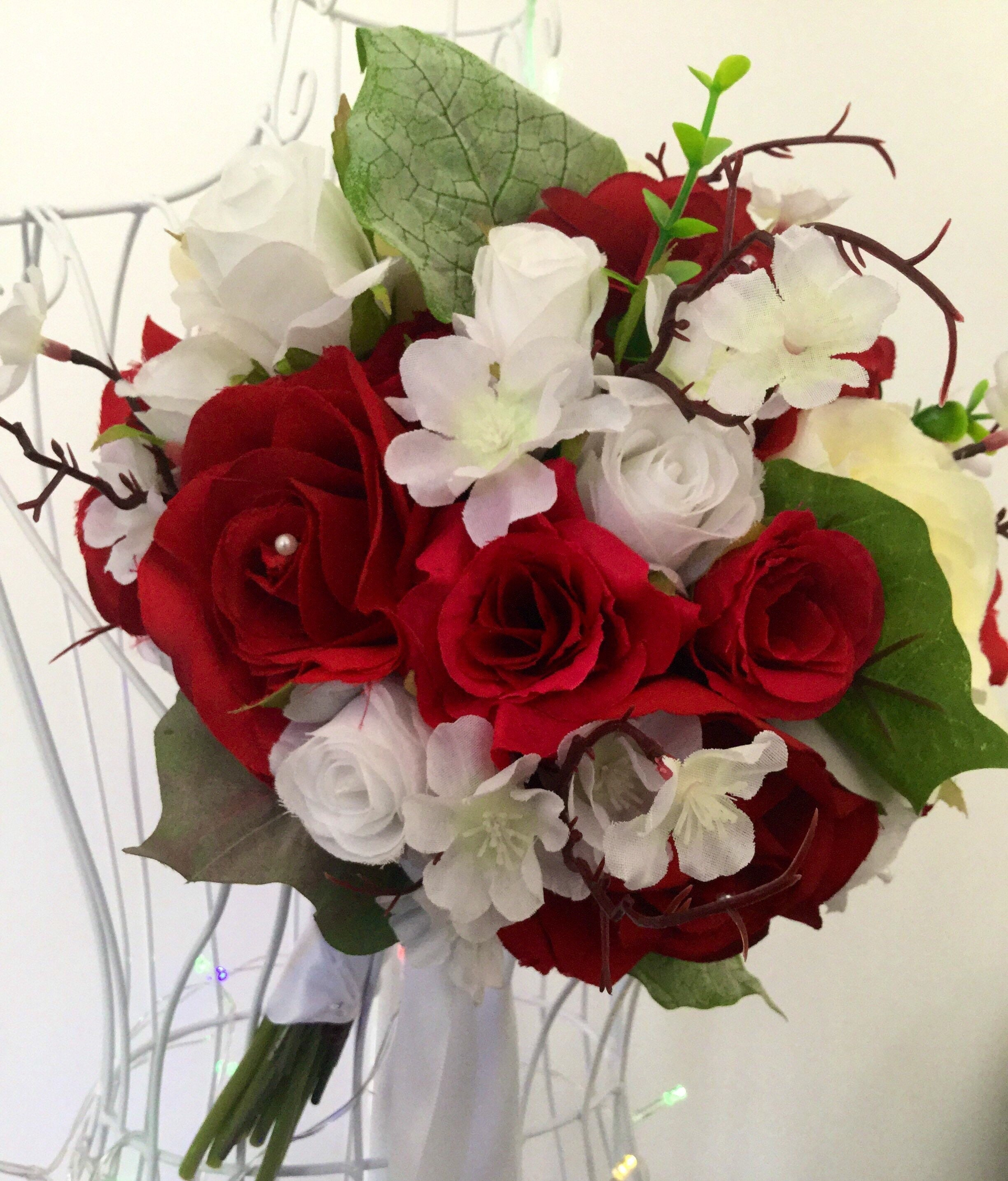 25 Off Country Red Rose Wedding Bouquet
