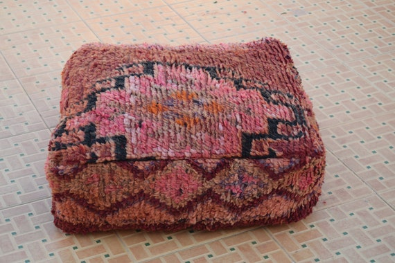 BEST   OFFER 20/% Handmade Floor pillow Home decor Vintage Berber Square Multicolor footstools Moroccan poufs Kilim pouf