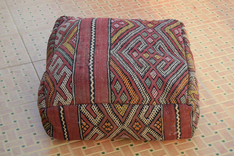 BEST   OFFER 20/% Vintage Floor pillow Moroccan Berber Home design Handmade Kilim pouf Berber Square footstools Furniture Multicolor