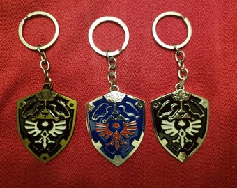 Zelda- BOTW - Breath of the Wild - Hylian Shield Necklace or Keychain Variety Nintendo Switch - NES Chain - Link's Shield for Boy or Girl