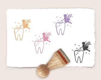 Mini rubber stamp TOOTH FAIRY Ø 15 mm / 0.59 inch