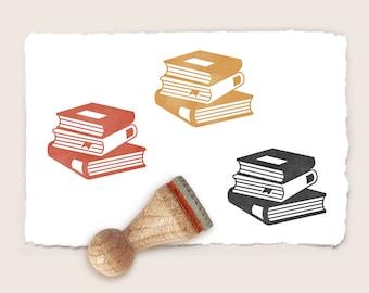 Mini rubber stamp BOOKS Ø 15 mm / 0.59 inch