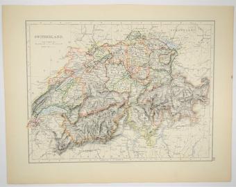 1895 Antique Switzerland Map - Hand Colored