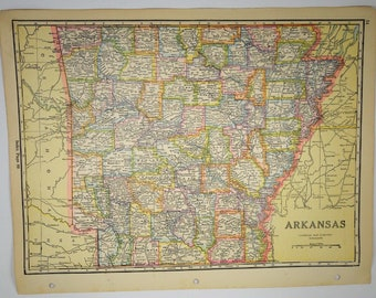 1933 Antique Arkansas Map