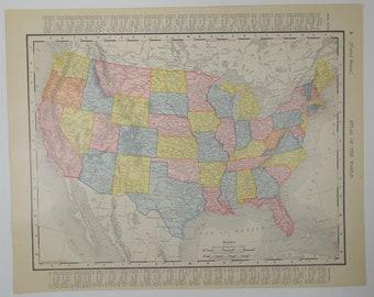 1909 Antique United States Map