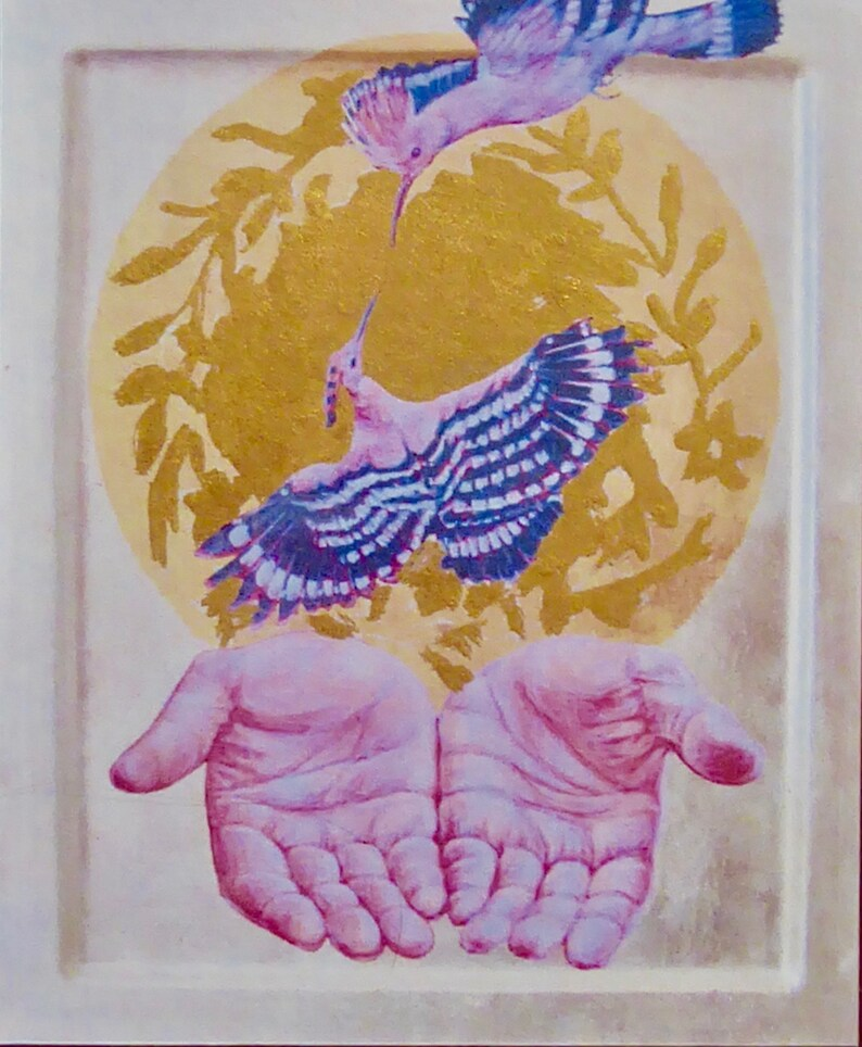 A digital print on card gilded with real gold leaf and signed by the artist. Small religious icon Song of the Hoopoe