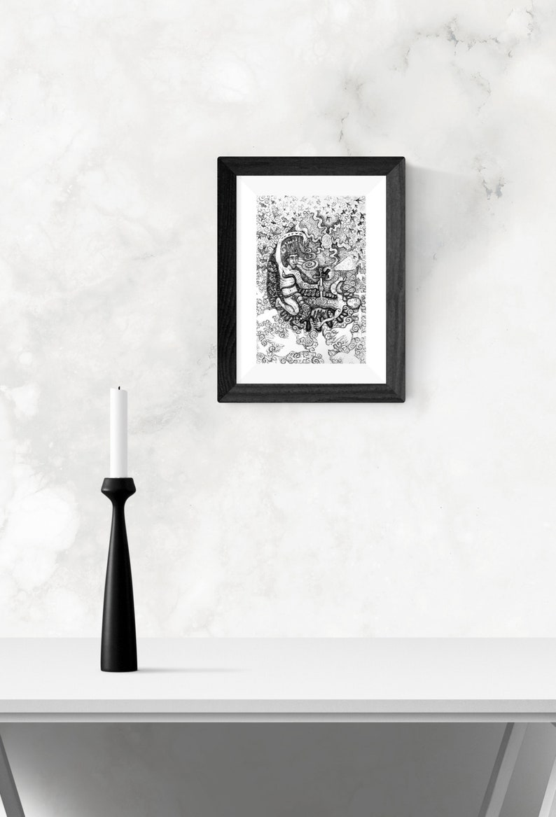 Drawn in the Peruvian Amazon unframed. ON SALE The Icaro of the Black Robin Art print signed mounted print of a pen and ink drawing