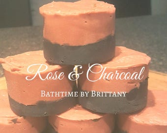 Rose + Charcoal Hair Care | READY TO SHIP | Handmade | Shampoo Bar | Conditioner Bar | Solid Shampoo | Solid Conditioner | Travel | Floral