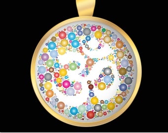 Om Colorful Gold Necklace