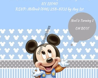 Disney Baby Mickey Mouse 1st Birthday Invitation Showers Parties Personalized Digital File
