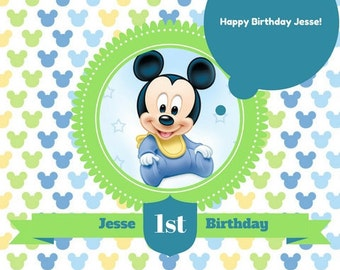 Disney Baby Mickey Mouse 1st Birthday Invitation Showers Parties Digital File Or Printed Invitations Customized