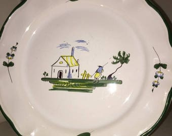 "Dinner plate in the ""Cabanon"" pattern made in France by Varages. (One more available)"
