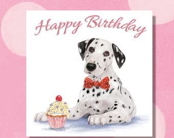 Handmade Personalised Dalmation Dog Birthday Card