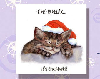 Kitten Hiding In Xmas Hat Personalised Christmas Card