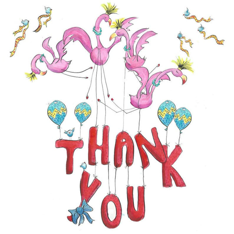 Thank You Cards Thank You Bird Card -Thank you note cards Flamingo Thank You Card single or 5 pack mini cards Thank you cards
