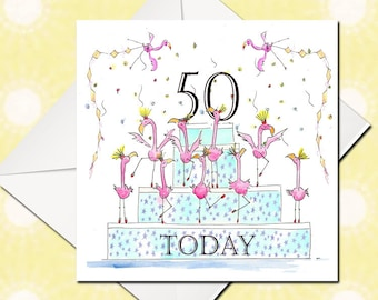 50th Birthday Card, Happy Birthday Card, Birthday Card, Greetings Card