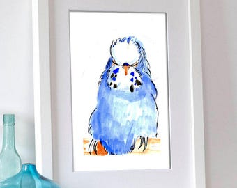 Blue Budgie Print, Sleeping Budgie, Budgie Art Print, Home Wall Decor, Budgie Watercolour, Art Print
