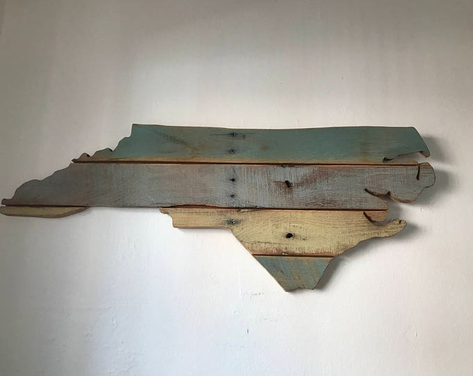 Featured listing image: Map of North Carolina made with up cycled pallets