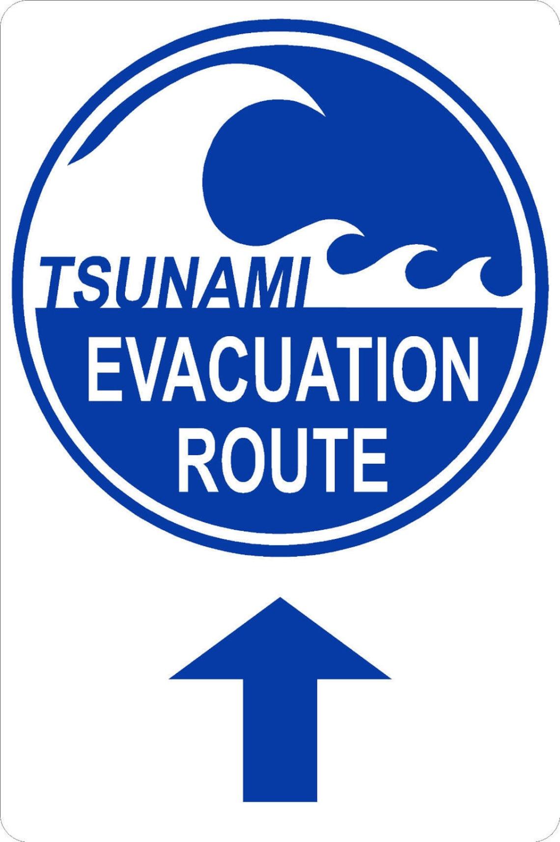 tsunami evacuation route 12x18 thick aluminum sign up