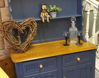 Ercol Elm Dresser Farrow Ball Stiffkey Blue Copper Kitchen Dining Room Upcycle